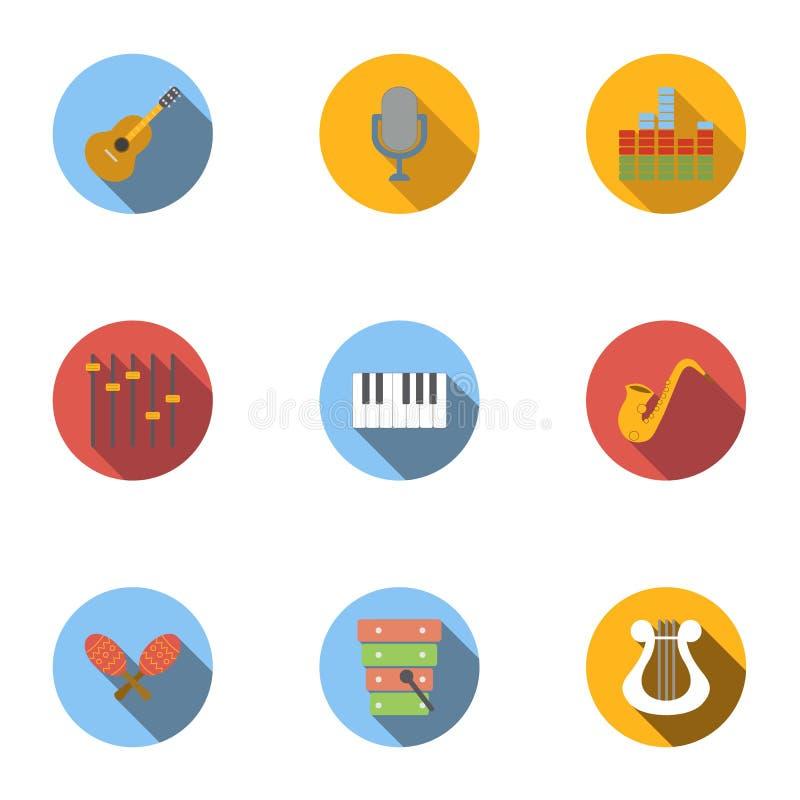 Ícones ajustados, estilo liso dos instrumentos musicais ilustração royalty free