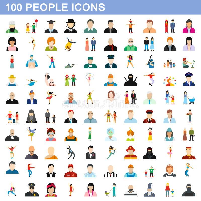 100 ícones ajustados, estilo liso dos povos ilustração stock