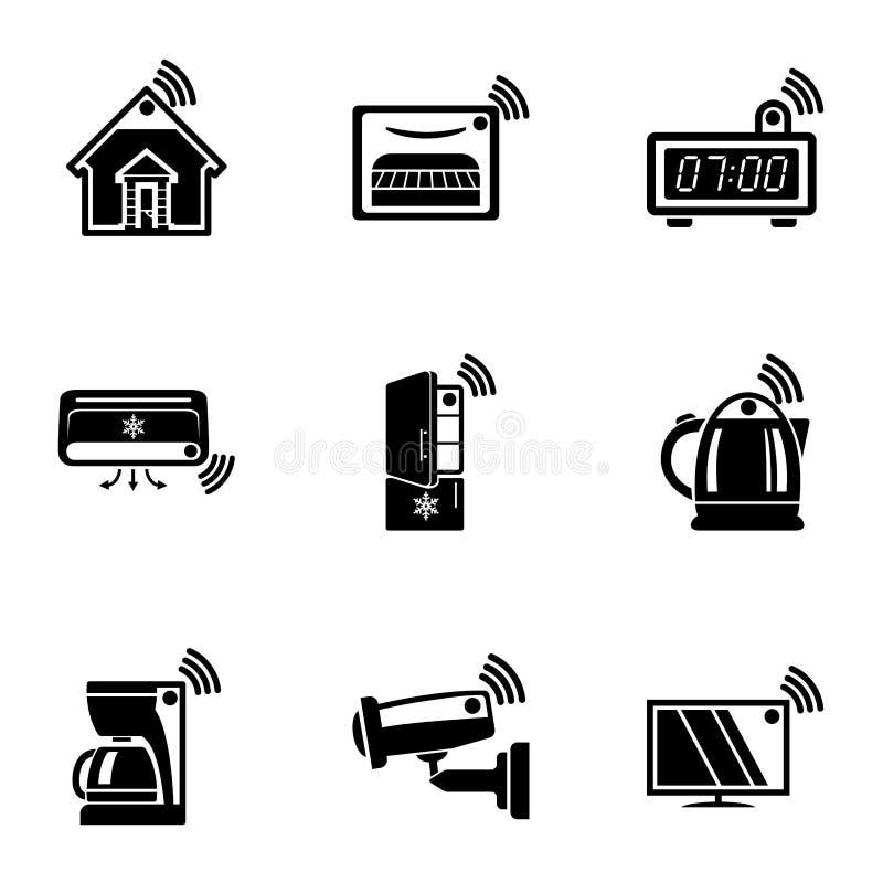 Ícones ajustados, estilo simples da administração remota ilustração stock