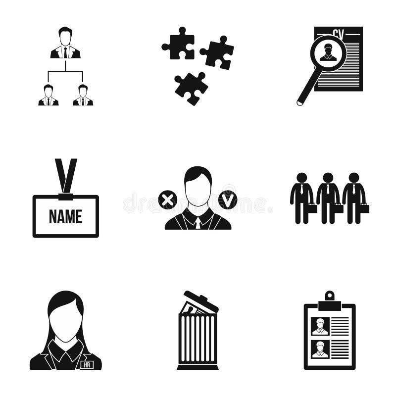 Ícones ajustados, estilo simples da agência provendo de pessoal ilustração do vetor