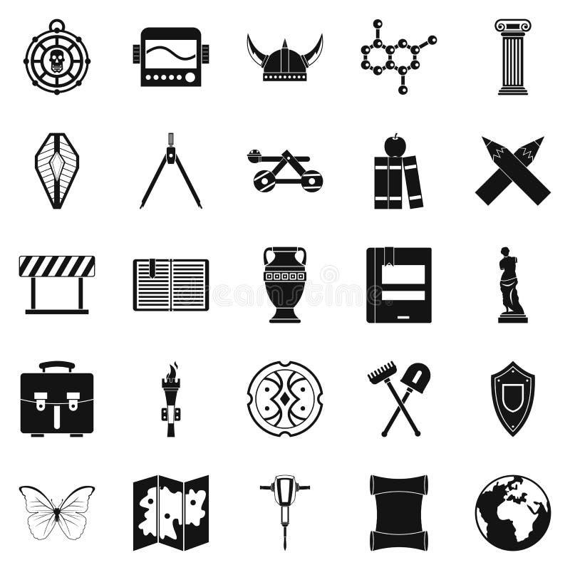 Ícones ajustados, estilo simples da arqueologia ilustração stock