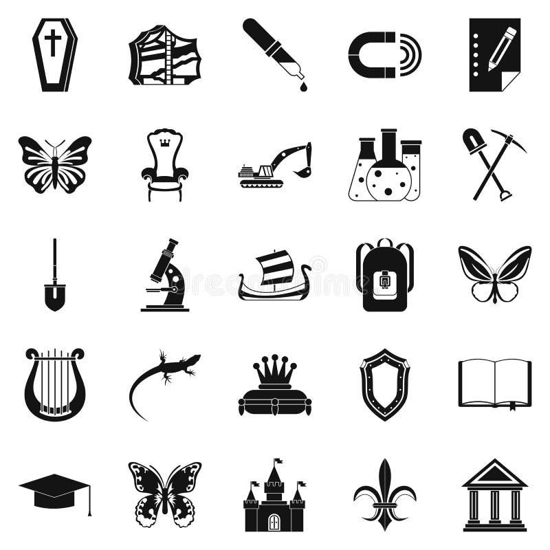 Ícones ajustados, estilo simples da cavidade ilustração royalty free