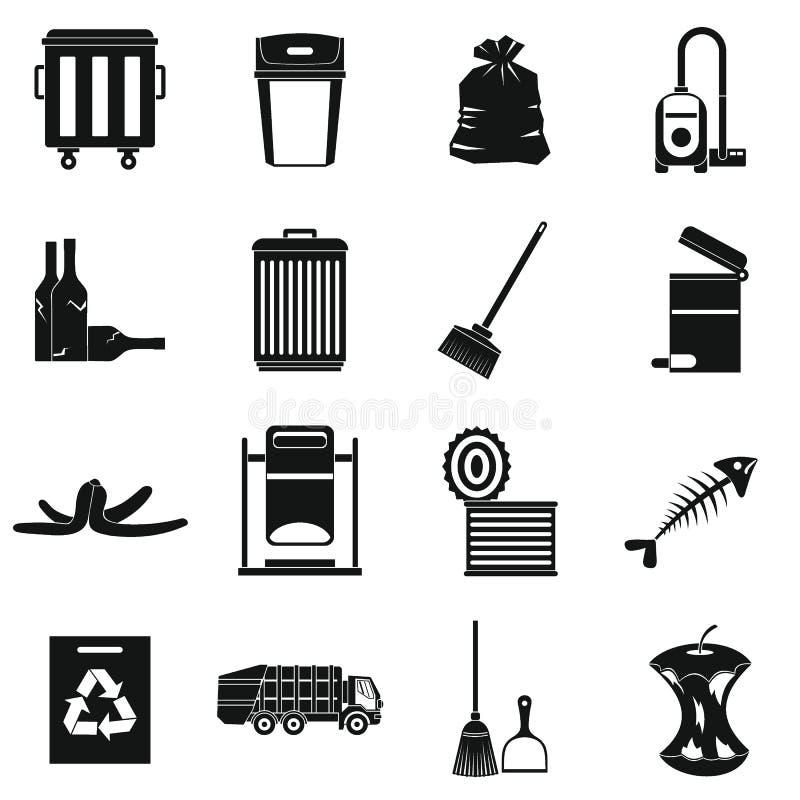 Ícones ajustados, estilo simples da coisa do lixo ilustração stock