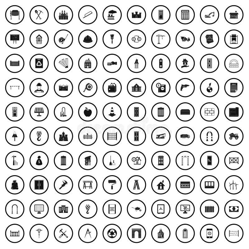 100 ícones ajustados, estilo simples da construção de habitações ilustração stock