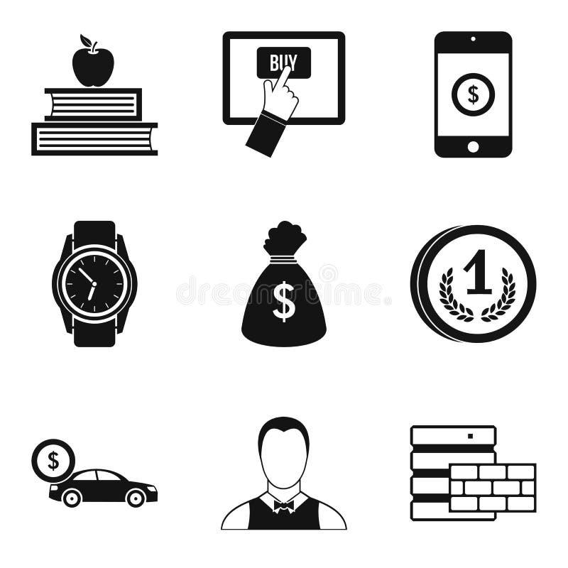 Ícones ajustados, estilo simples da cooperação ilustração royalty free