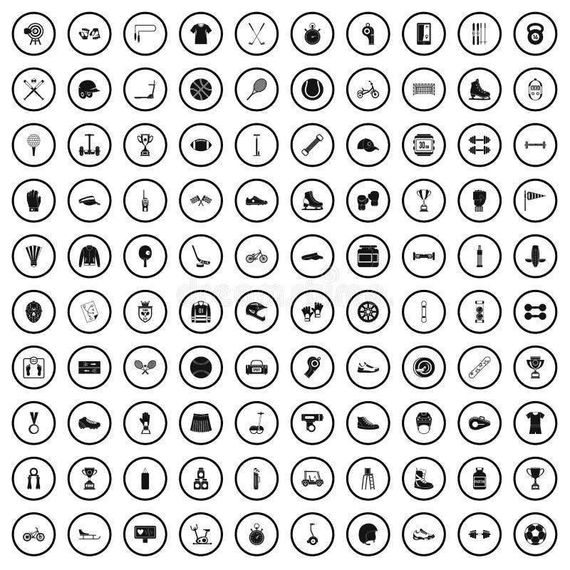 100 ícones ajustados, estilo simples da exposição dos esportes ilustração do vetor