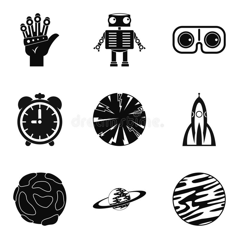 Ícones ajustados, estilo simples da fantasia ilustração stock