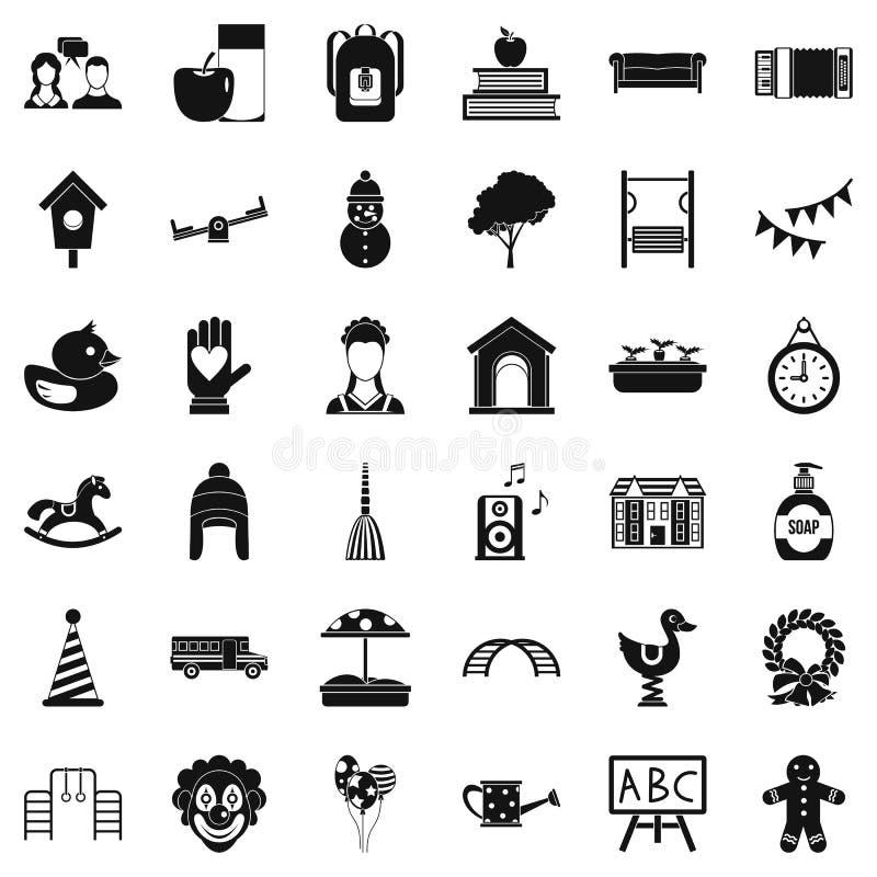 Ícones ajustados, estilo simples da infância ilustração royalty free