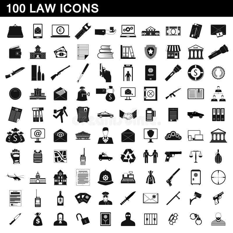 100 ícones ajustados, estilo simples da lei ilustração royalty free