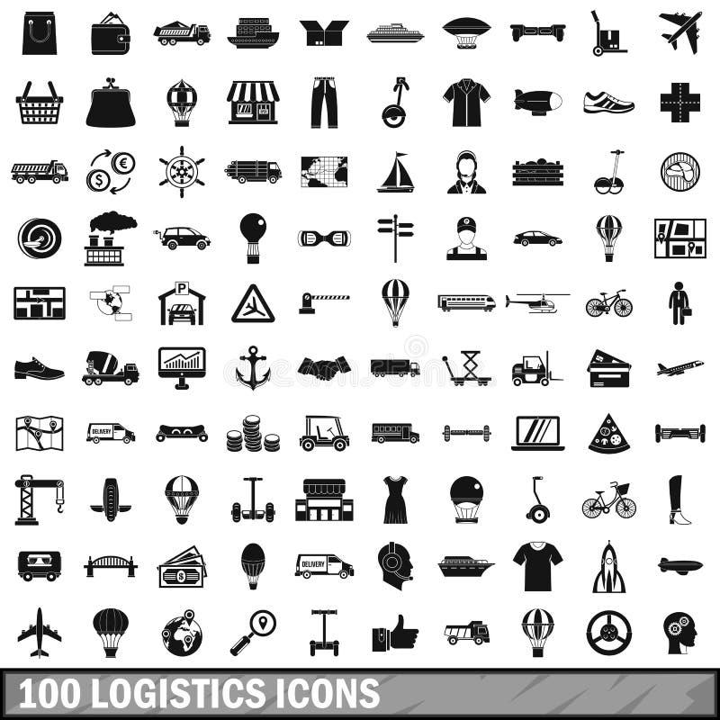 100 ícones ajustados, estilo simples da logística ilustração do vetor