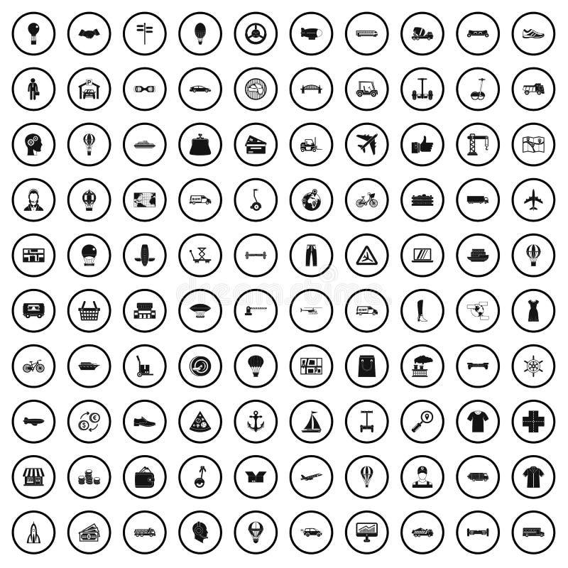 100 ícones ajustados, estilo simples da logística ilustração stock
