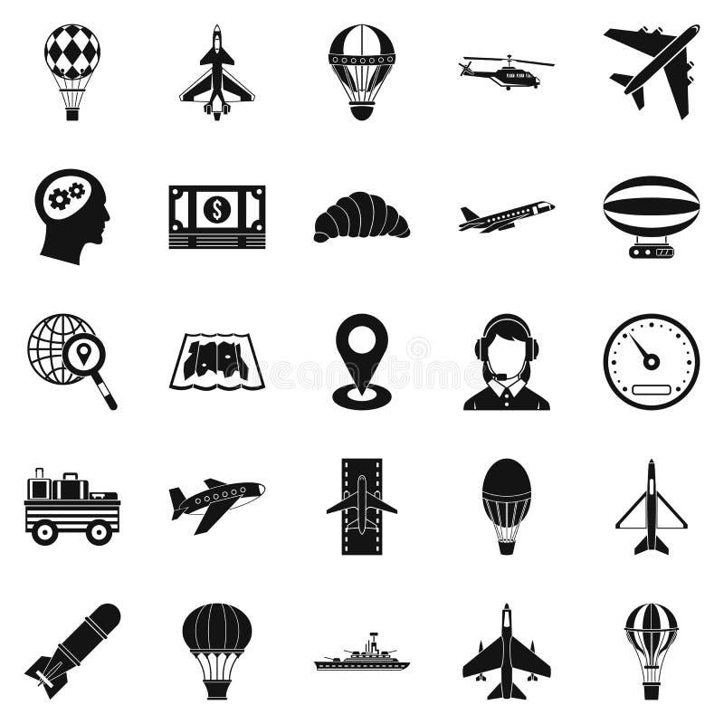 Ícones ajustados, estilo simples da máquina de voo ilustração stock