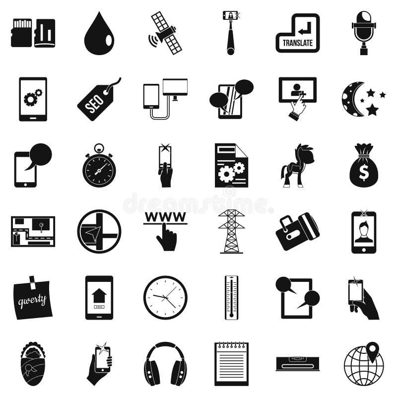 Ícones ajustados, estilo simples da manutenção de hardware ilustração stock