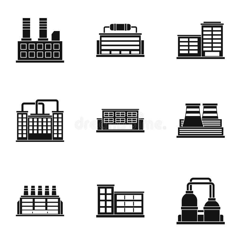 Ícones ajustados, estilo simples da planta de produção ilustração stock