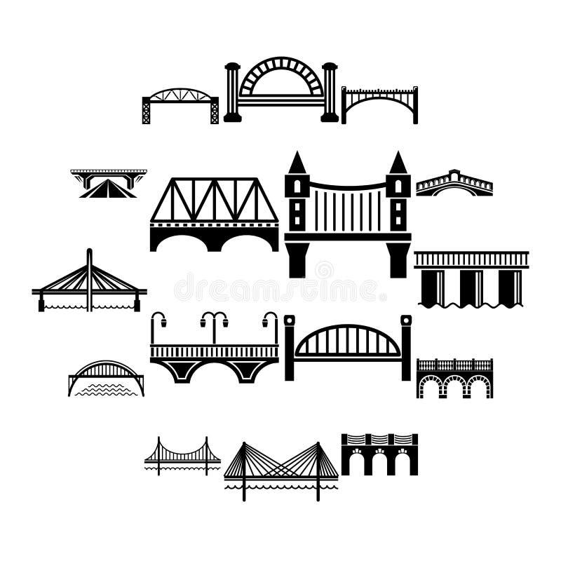 Ícones ajustados, estilo simples da ponte ilustração do vetor