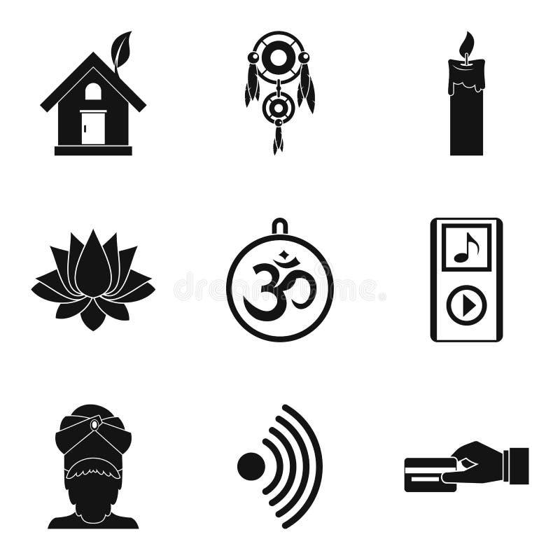 Ícones ajustados, estilo simples da prática da ioga ilustração stock