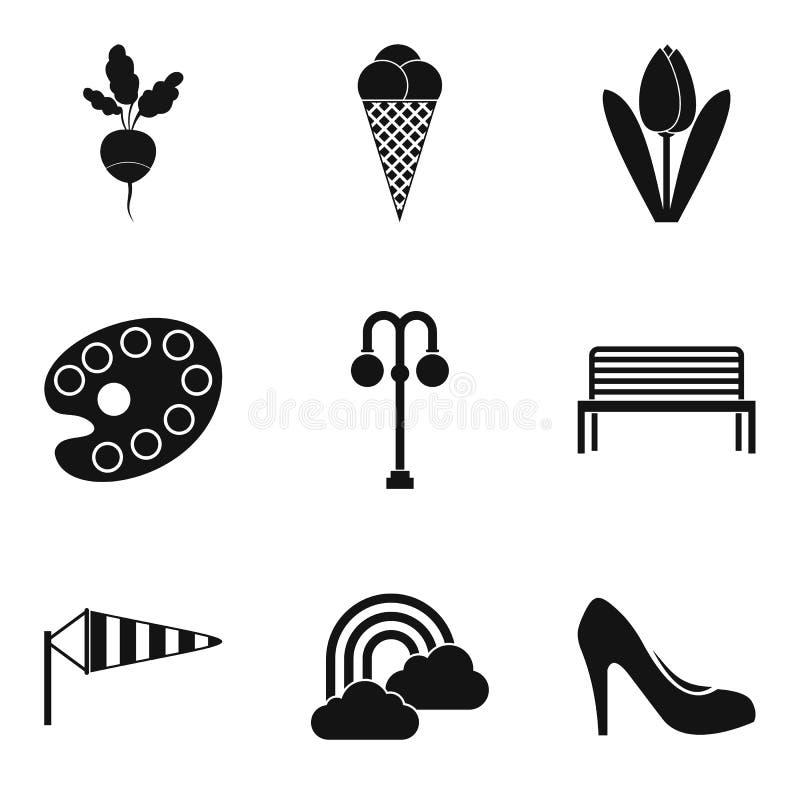 Ícones ajustados, estilo simples da primavera ilustração stock