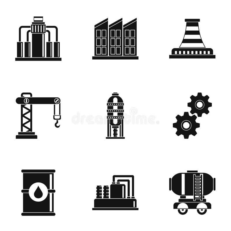 Ícones ajustados, estilo simples da produção de petróleo ilustração royalty free