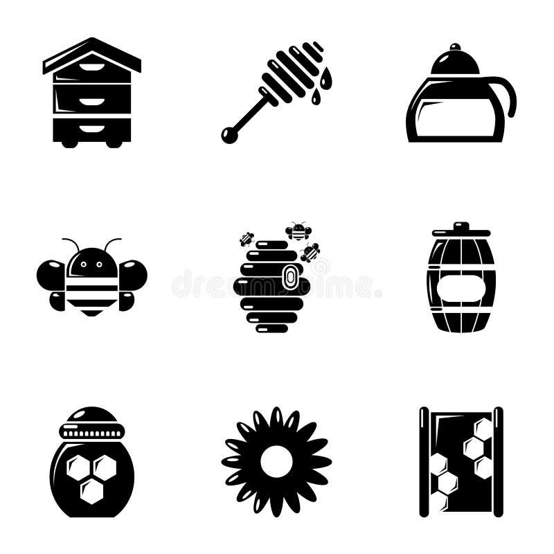 Ícones ajustados, estilo simples da produção do mel ilustração royalty free
