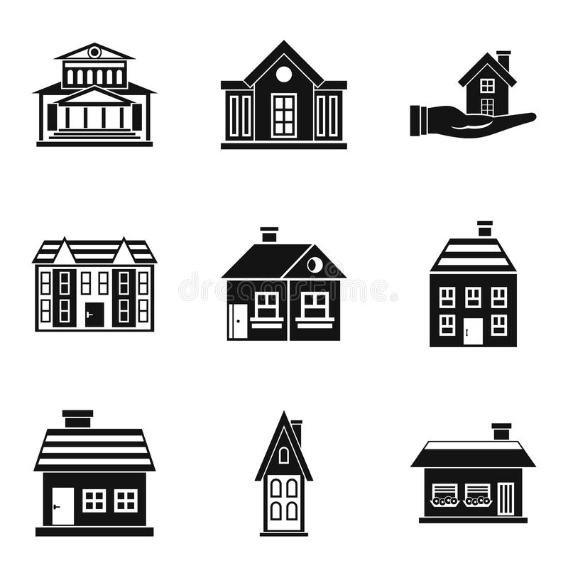 Ícones ajustados, estilo simples da residência ilustração stock