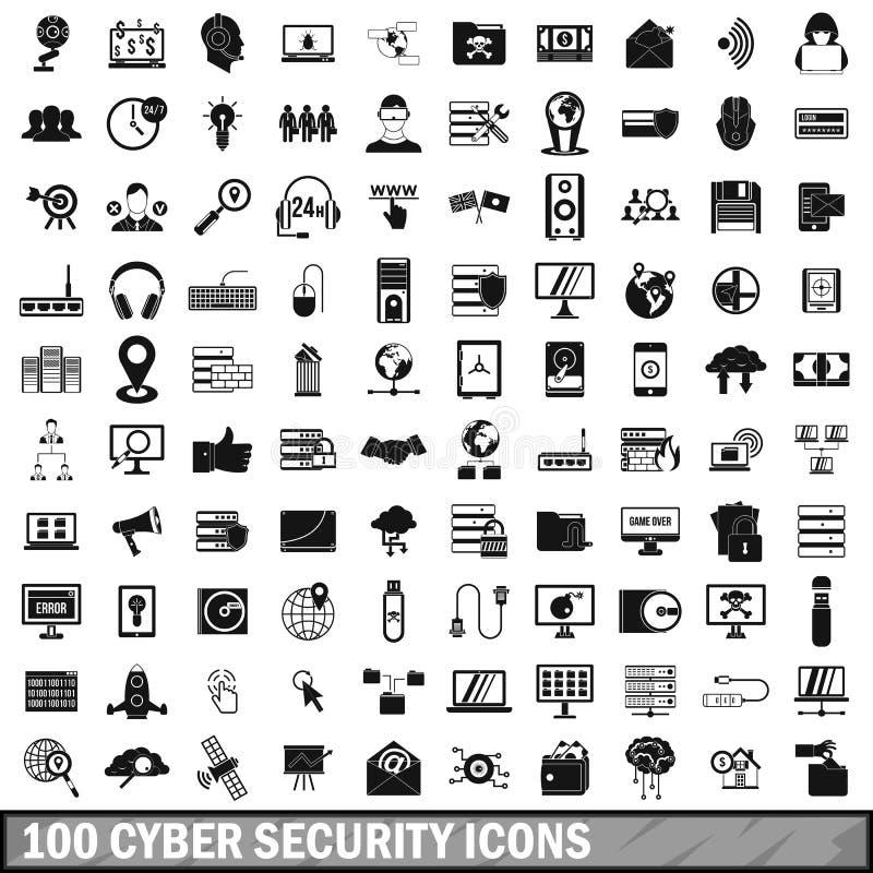 100 ícones ajustados, estilo simples da segurança do cyber ilustração stock