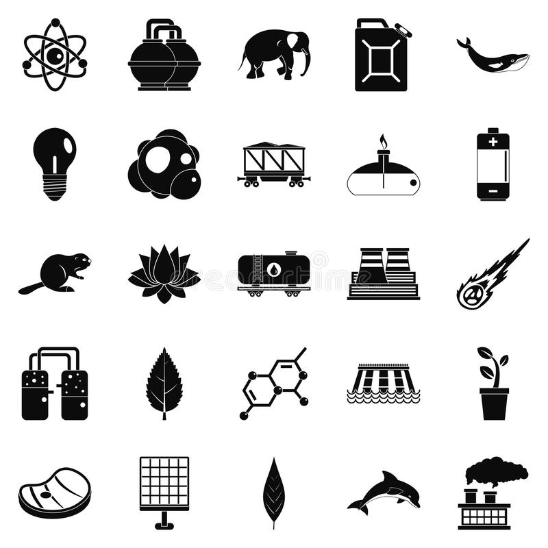 Ícones ajustados, estilo simples da terra de Eco ilustração stock
