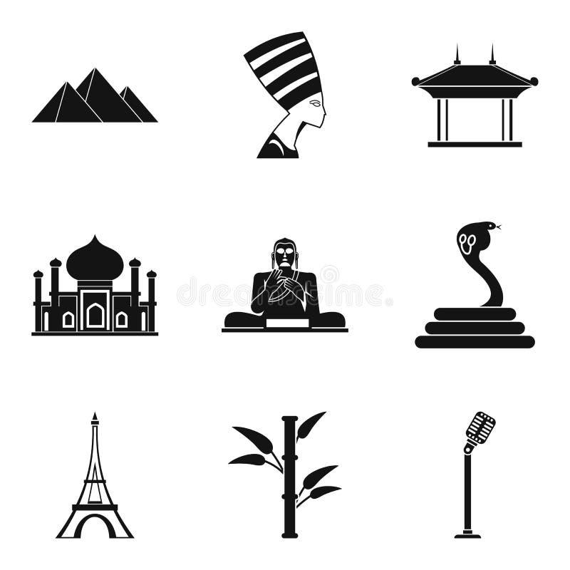 Ícones ajustados, estilo simples da viagem do mundo ilustração do vetor