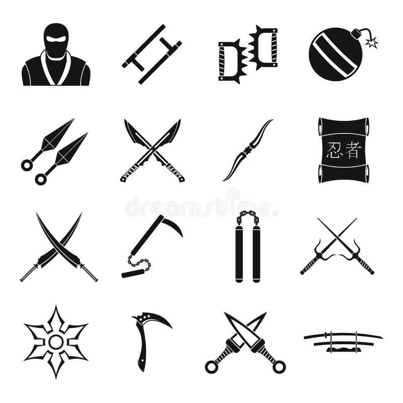 Ícones ajustados, estilo simples das ferramentas de Ninja ilustração do vetor