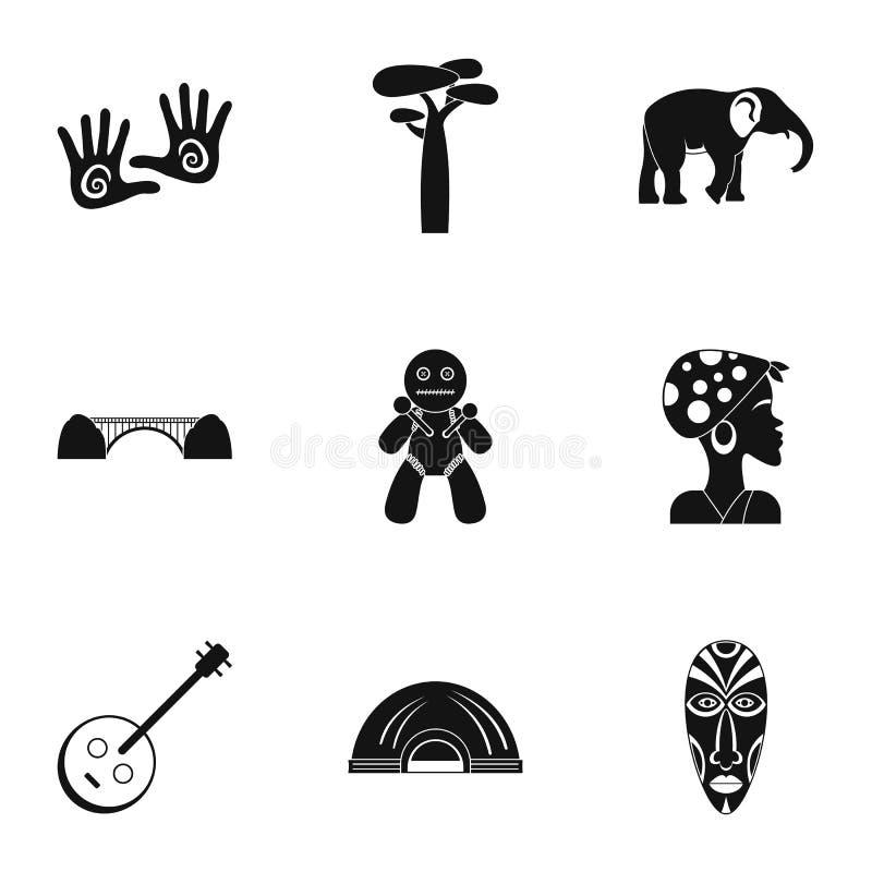 Ícones ajustados, estilo simples de África do Sul ilustração do vetor