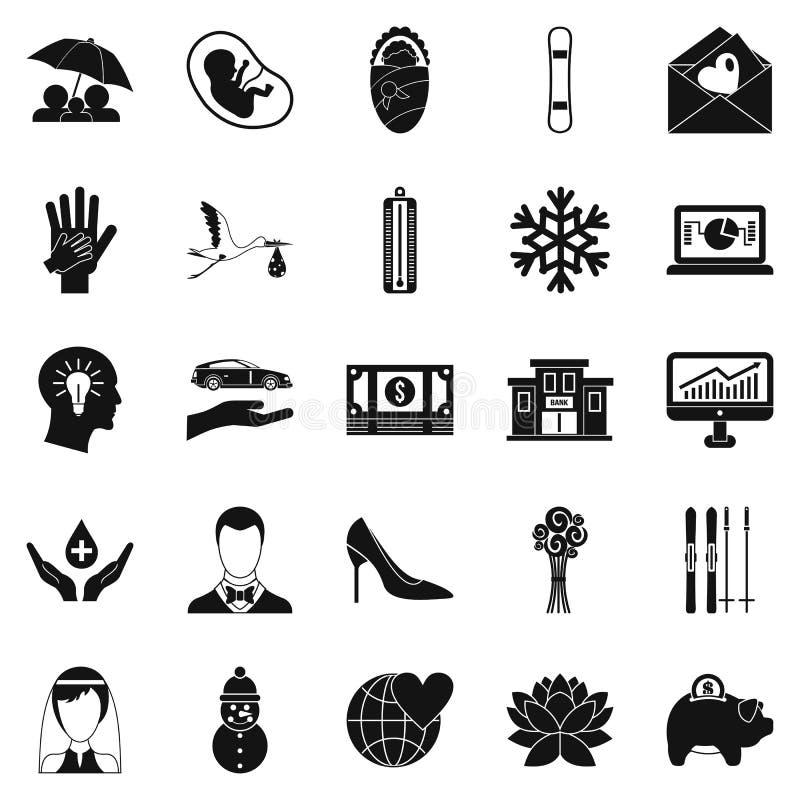 Ícones ajustados, estilo simples de Divertissement ilustração royalty free