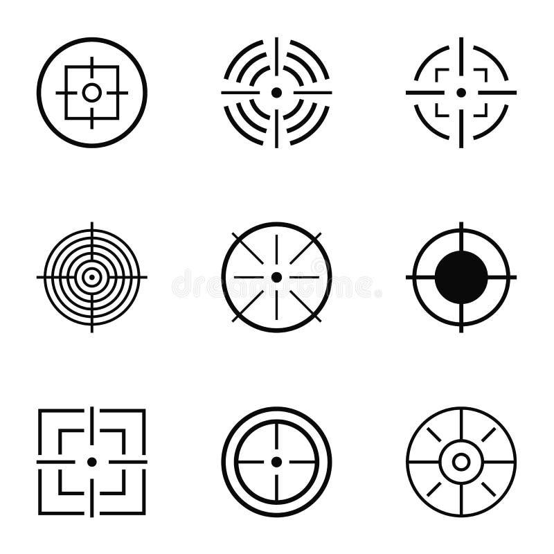 Ícones ajustados, estilo simples do alvo ilustração royalty free