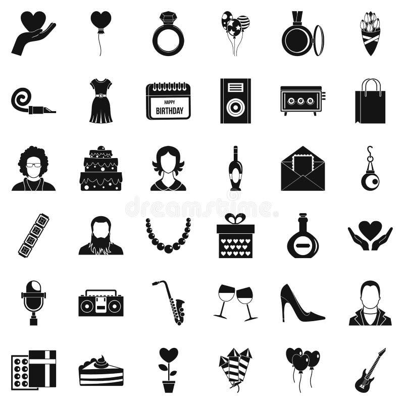 Ícones ajustados, estilo simples do aniversário ilustração royalty free