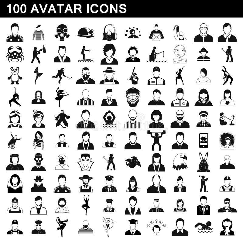 100 ícones ajustados, estilo simples do avatar ilustração stock