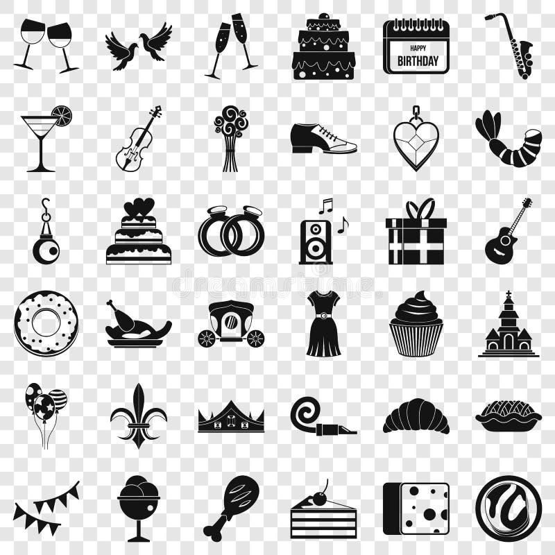 Ícones ajustados, estilo simples do banquete do aniversário ilustração stock