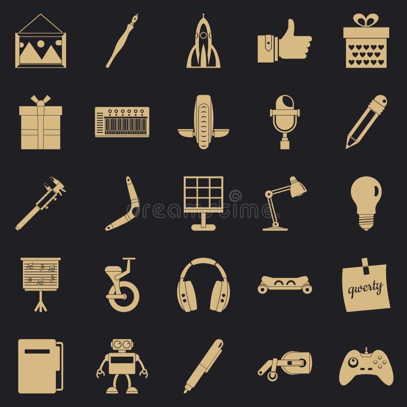 Ícones ajustados, estilo simples do benefício ilustração royalty free