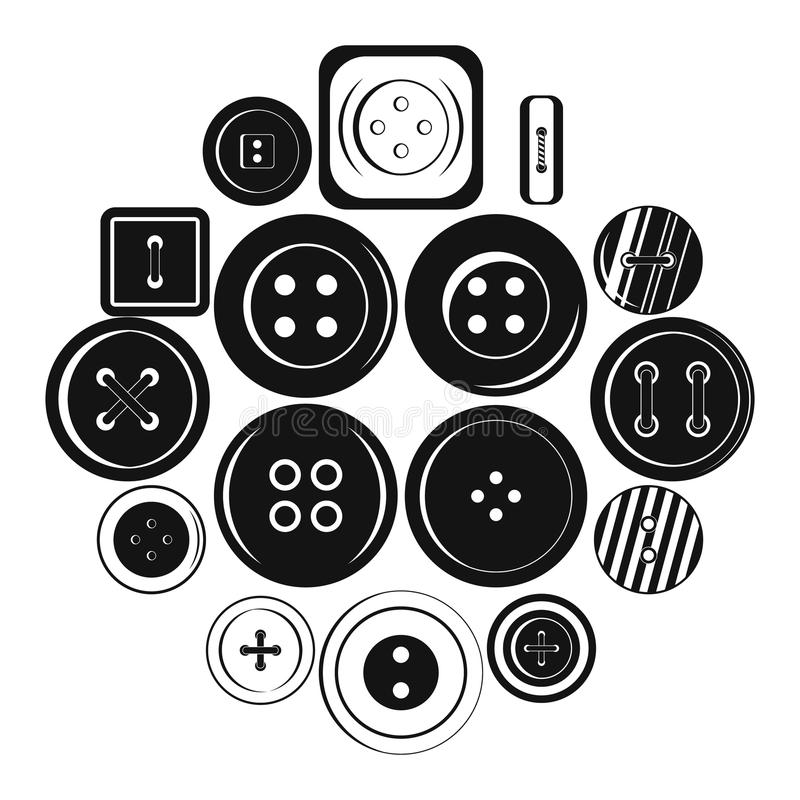 Ícones ajustados, estilo simples do botão da roupa ilustração do vetor