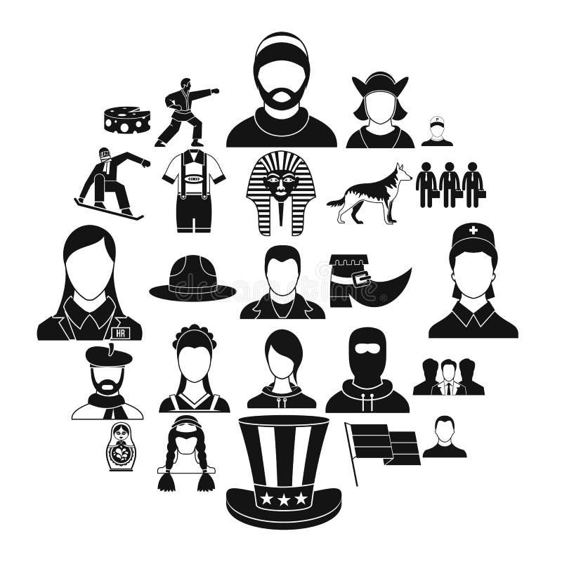 Ícones ajustados, estilo simples do cidadão ilustração royalty free