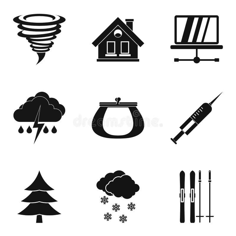 Ícones ajustados, estilo simples do Cosiness ilustração do vetor