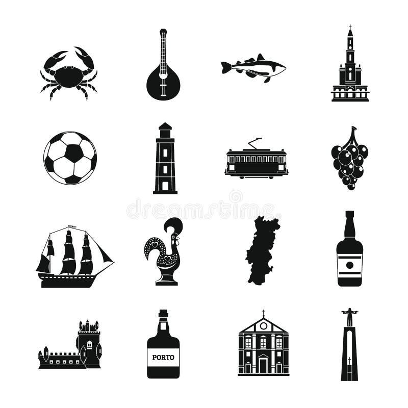 Ícones ajustados, estilo simples do curso de Portugal ilustração stock