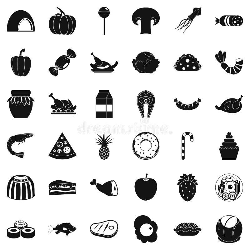 Ícones ajustados, estilo simples do deleite ilustração do vetor
