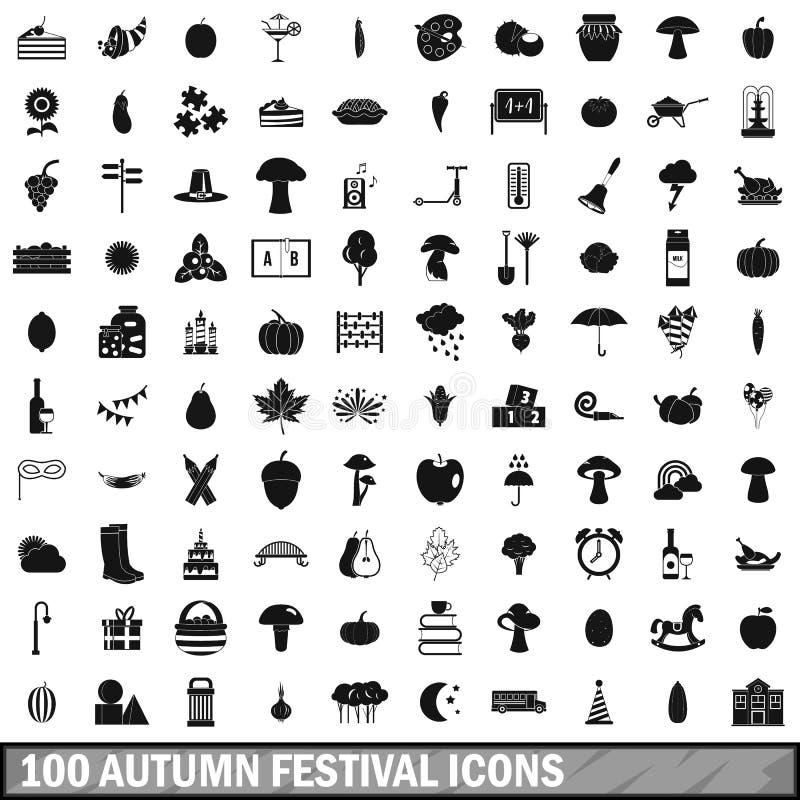 100 ícones ajustados, estilo simples do festival do outono ilustração do vetor