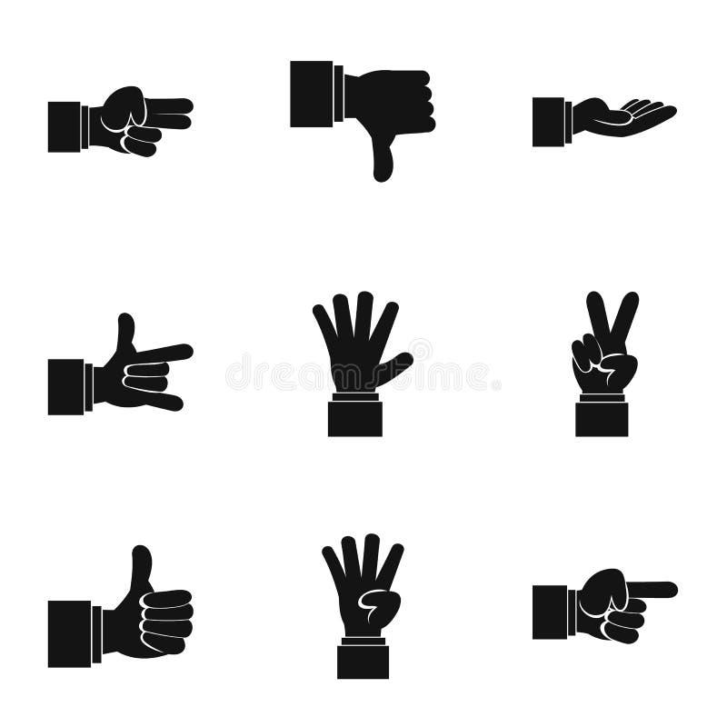 Ícones ajustados, estilo simples do gesto ilustração do vetor