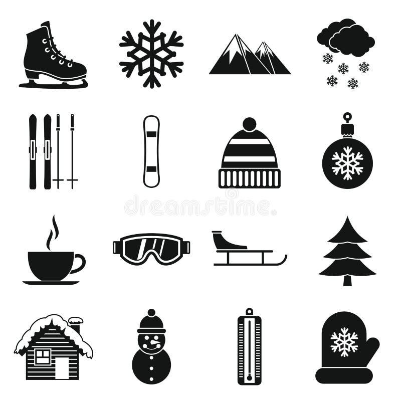 Ícones ajustados, estilo simples do inverno ilustração do vetor