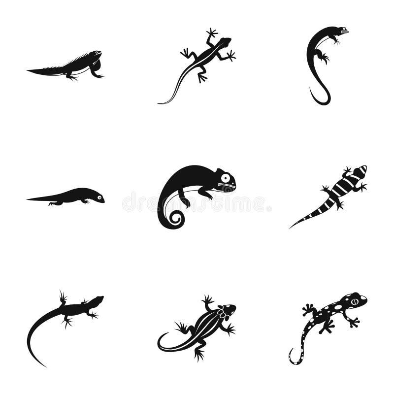 Ícones ajustados, estilo simples do lagarto ilustração do vetor