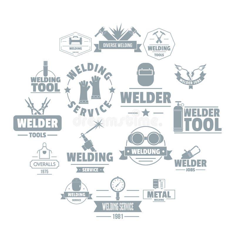 Ícones ajustados, estilo simples do logotipo da soldadura ilustração stock