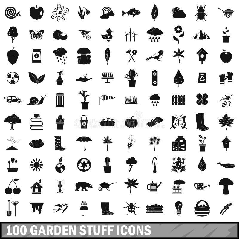 100 ícones ajustados, estilo simples do material de jardim ilustração royalty free