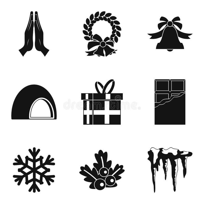 Ícones ajustados, estilo simples do material do Natal ilustração do vetor