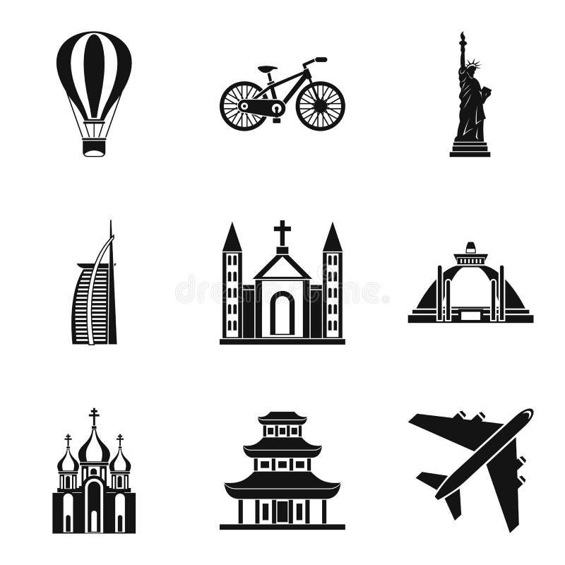 Ícones ajustados, estilo simples do movimento em todo o mundo ilustração royalty free
