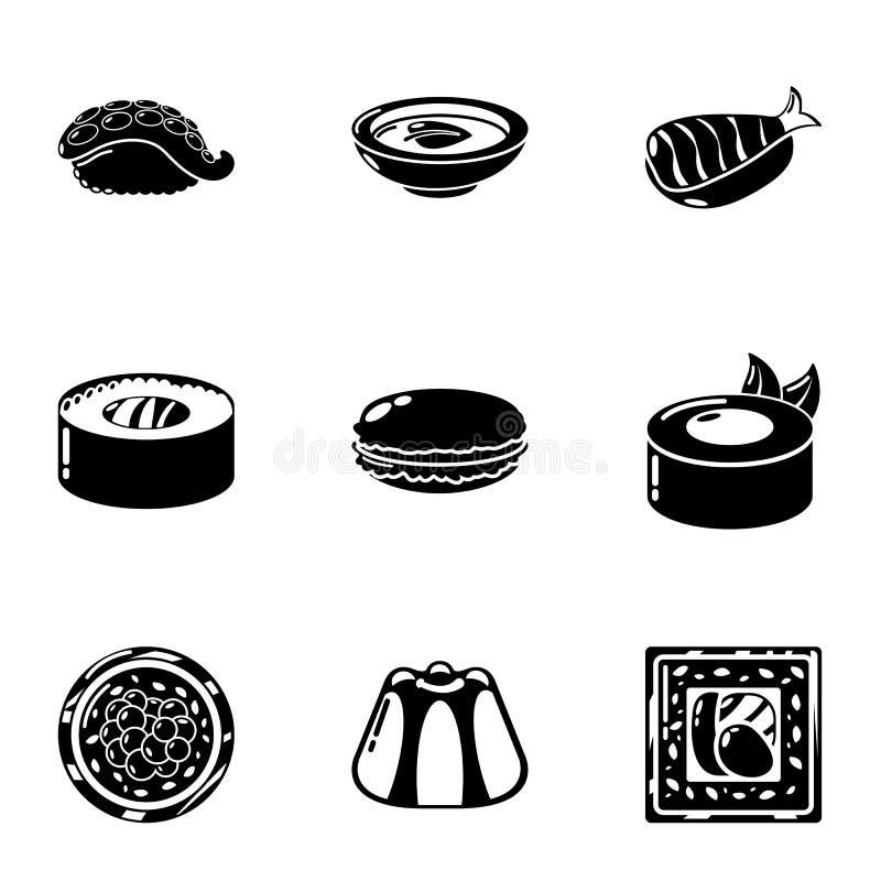 Ícones ajustados, estilo simples do sushi de Japão ilustração royalty free