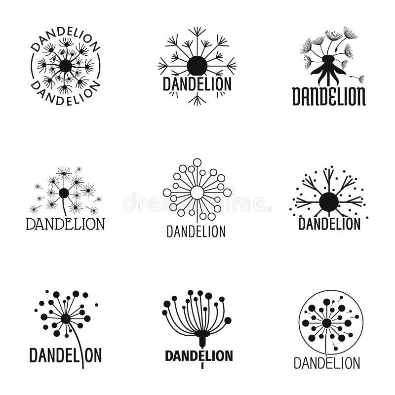 Ícones ajustados, estilo simples do Taraxacum ilustração do vetor